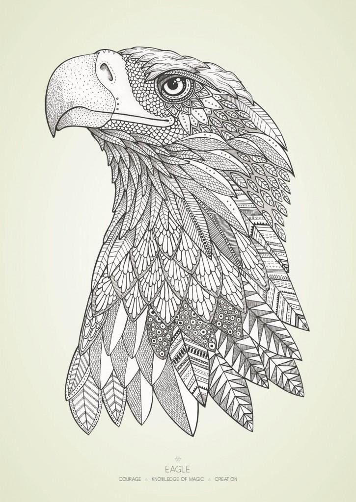Ørnen med farvet baggrund