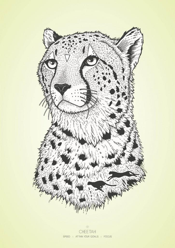 Geparden med farvet baggrund