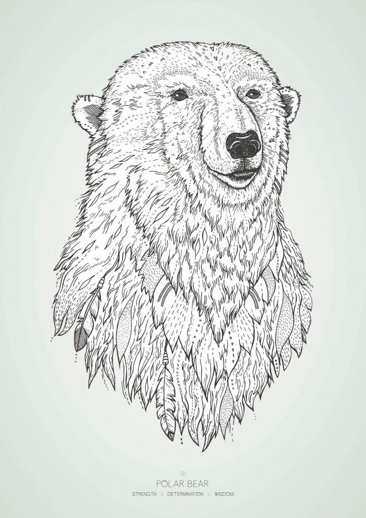 Isbjørnen med farvet baggrund