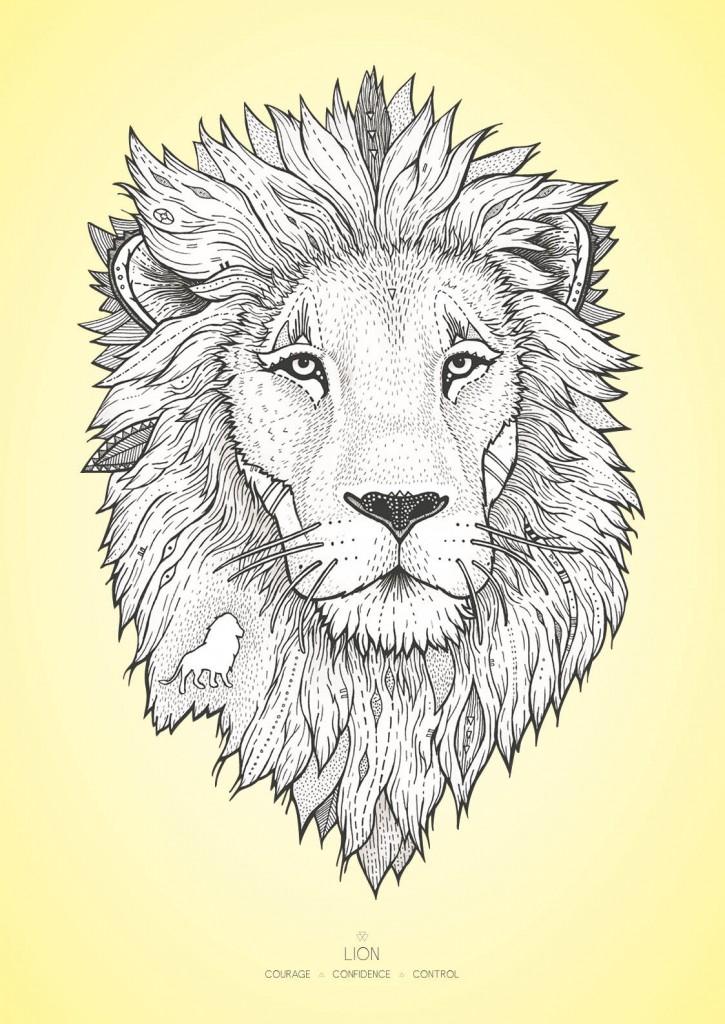 Løven med farvet baggrund