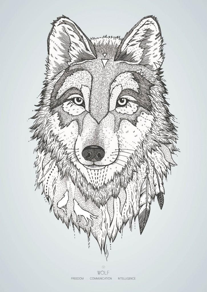 Ulven med farvet baggrund